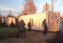 17 октября в Кемерове перевернулась маршрутка №40