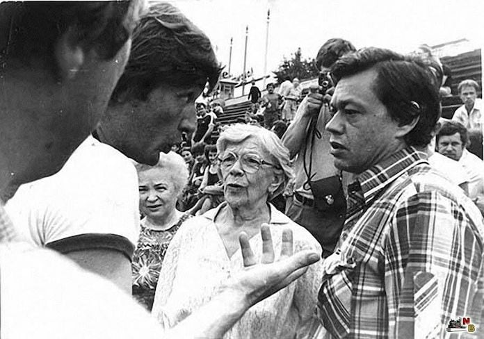 Александр Абдулов, Татьяна Пельтцер и Николай Караченцов в Кузбассе, 1986 год