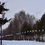 Белово, центральный парк, завершающие штрихи реконструкции, ноябрь 2018