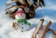 Снеговик, зима, снегопад