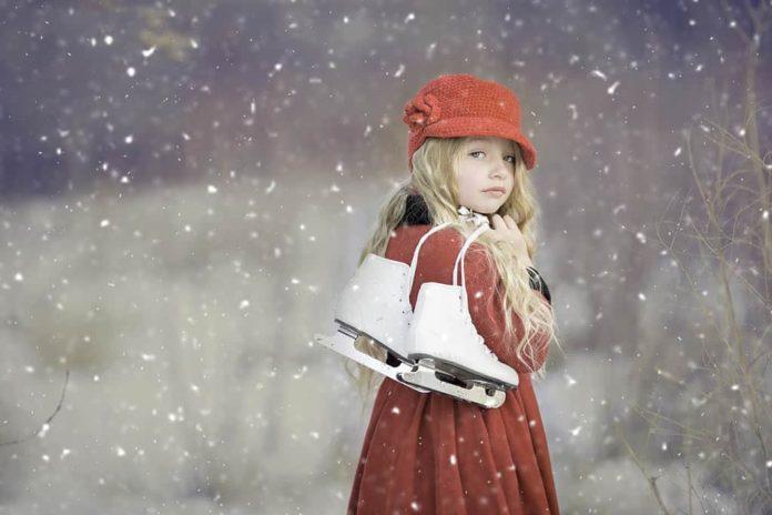 Коньки, зима, девочка, девушка, снегопад
