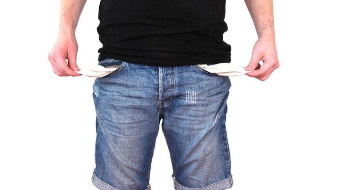 Нет денег, пустой карман, нищета