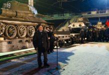 Колонна танков Т-34 из Лаоса в Юрге, Кемеровская область