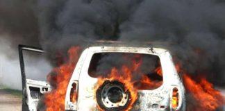 В Бачатском сгорел автомобиль