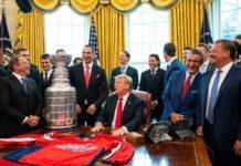 Хоккеисты Овечкин, Орлов и Кузнецов на встрече с президентом Трампом