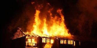 Пожар, дом, горит