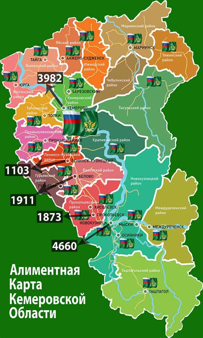 Алиментная карта Кемеровской области