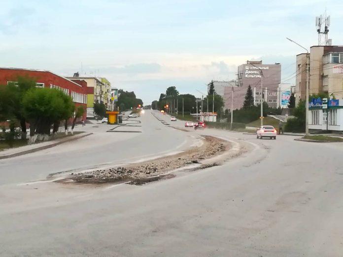 Ремонт улицы Октябрьская, Белово, июль 2019