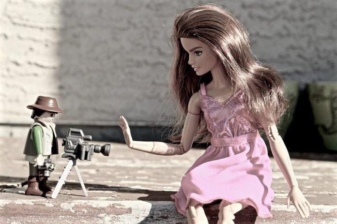 Съемка, модель, позирование, фотограф, Барби