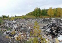 Строительный мусор у дороги Новый Городок - Старобачаты