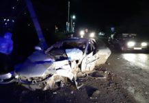 ДТП Белово, Новый Городок, Ниссан врезался в столб, 29 октября 2019 г