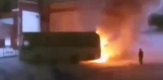 В Гурьевске на автовокзале загорелся автобус, 23 ноября 2019 г