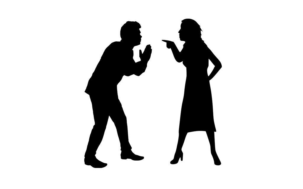 Мужчина, женщина, семья, скандал, ругань, брань