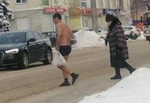 В Ленинске-Кузнецком голый мужик разгуливал по улицам, 16 декабря 2019 г