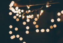 Елка, огни, ночь, Новый год, Рождество