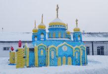 В колонии №44 г. Белово построили снежную копию Храма Христа спасителя