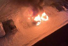 В Белове разом сгорели две иномарки, 22 января 2020 г