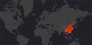 Карта распространения коронавируса 2019-nCoV