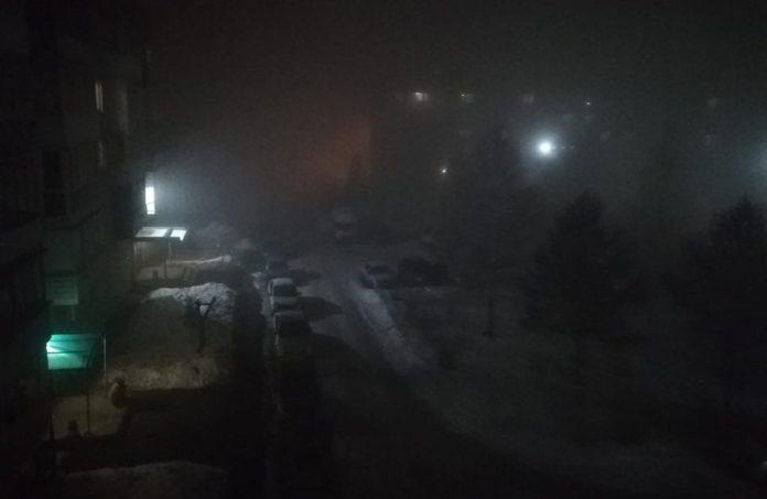 Туман и смог в Кузбассе в ночь с 24 на 25 февраля 2020 г