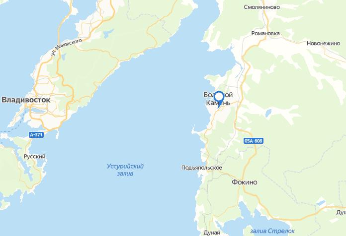 Большой Камень на карте Приморья