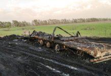 На алтайской трассе в Беловском районе сгорел грузовик с 20 тоннами масла