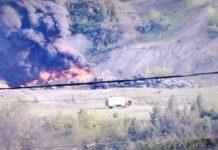 Возгорание отработанных шин на Вахрушевском разрезе в Киселевске, 3 июня 2020