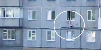 Полуголый мужик выпал из окна и с воплями бегал по парковке