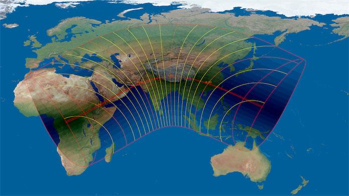 Карта солнечного затмения 21 июня 2020 г