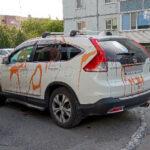 Беловчане измазали машину автохама