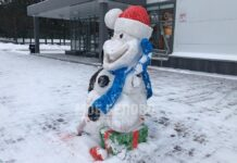 Вандалы сломали снеговика у Ледового дворца в Бачатском