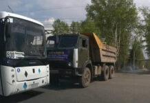 ДТП Белово, КамАЗ столкнулся с автобусом, 13 мая 2021
